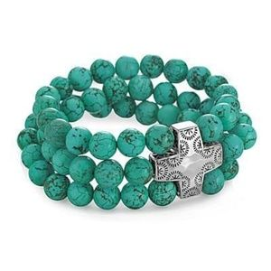 Turquoise and Silver cross stretch bracelet